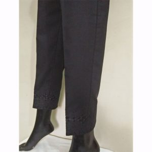 Black Trouser With Beige Embroidery