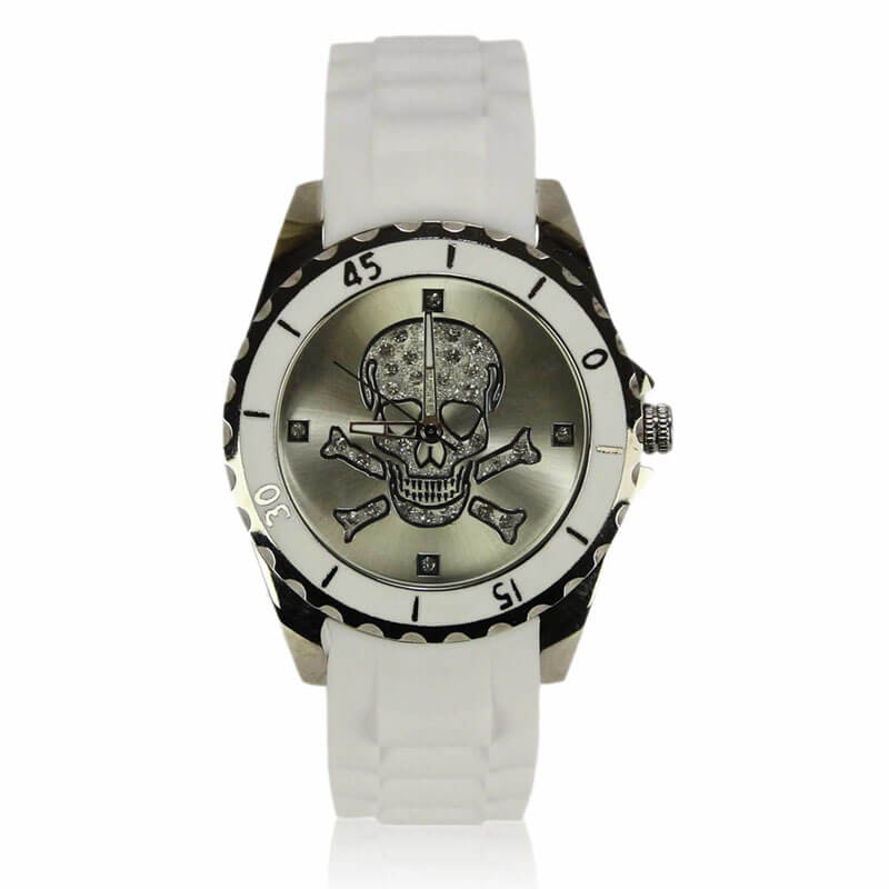 Unisex White Skull Watch
