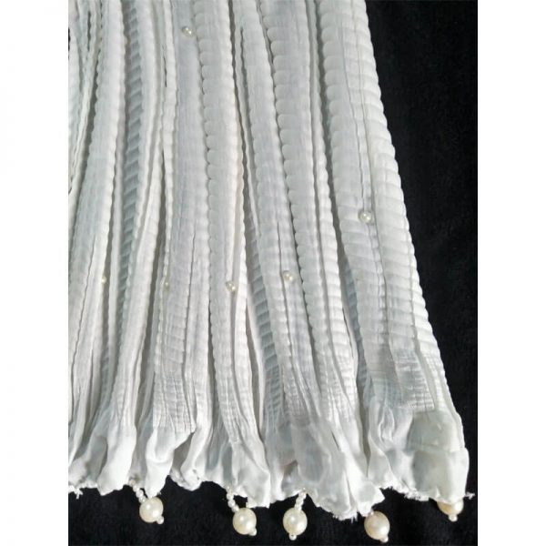 ZD30 White Crush Dupatta With Pearls 1