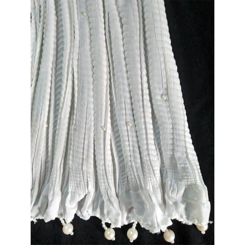 White Crush Dupatta With Pearls