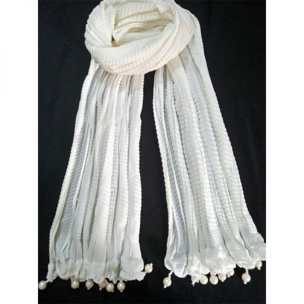 ZD30 White Crush Dupatta With Pearls 2