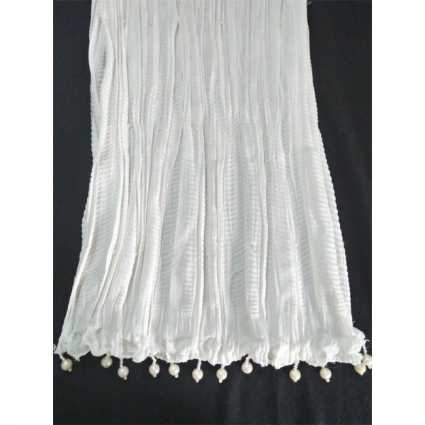 ZD30 White Crush Dupatta With Pearls 3