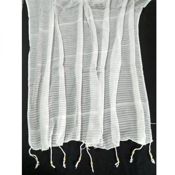 ZD34 Striped White Chiffon Dupatta With Tassels On Bottom 1