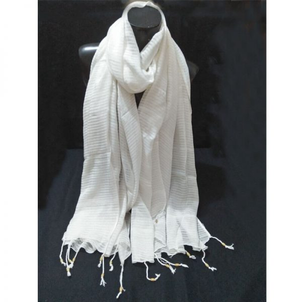 ZD34 Striped White Chiffon Dupatta With Tassels On Bottom 2
