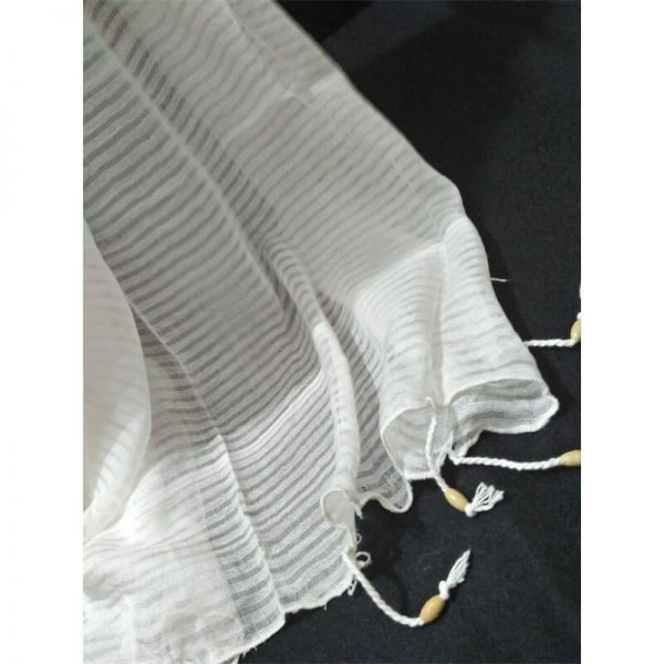 ZD34 Striped White Chiffon Dupatta With Tassels On Bottom 3