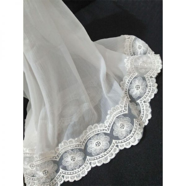 ZD35 White Chiffon Dupatta With Floral Lace On Bottoms 1