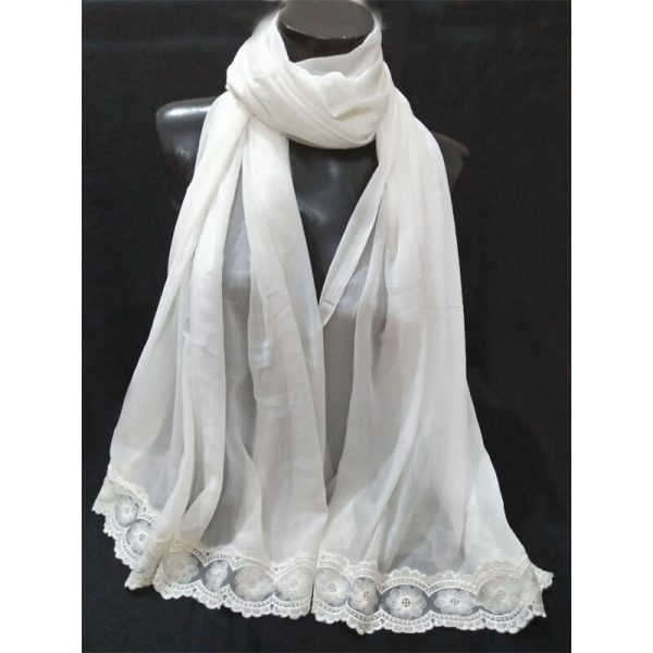 ZD35 White Chiffon Dupatta With Floral Lace On Bottoms 2