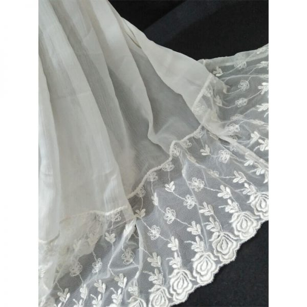 ZD36 White Chiffon Dupatta With Floral Lace On Bottoms 1