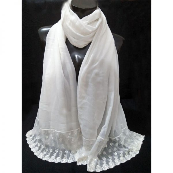 ZD36 White Chiffon Dupatta With Floral Lace On Bottoms 2
