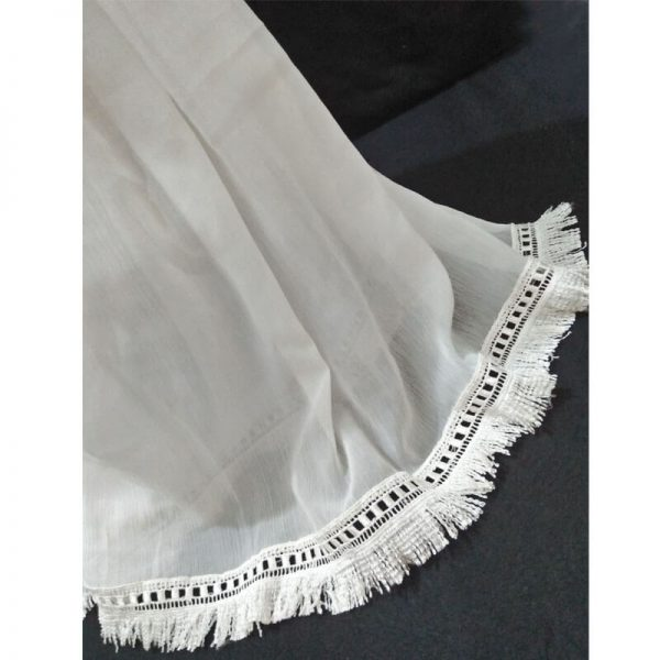 ZD37 White Chiffon Dupatta With Tassel Lace On Bottoms 1