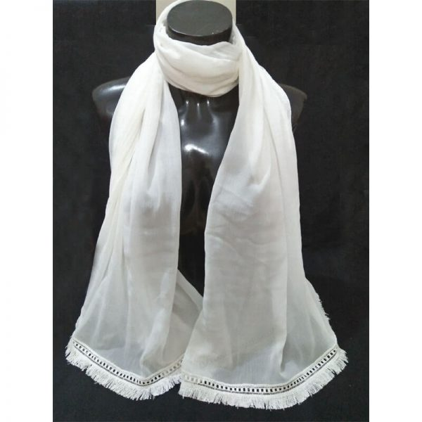 ZD37 White Chiffon Dupatta With Tassel Lace On Bottoms 2