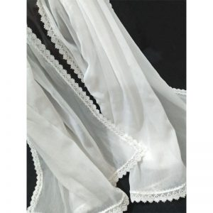 White Chiffon Dupatta With Floral Lace On All 4 Sides