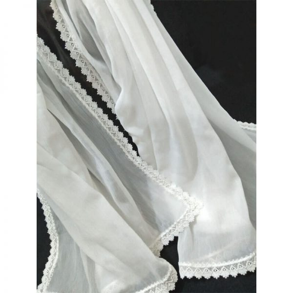 ZD38 White Chiffon Dupatta With Floral Lace On All 4 Sides 1