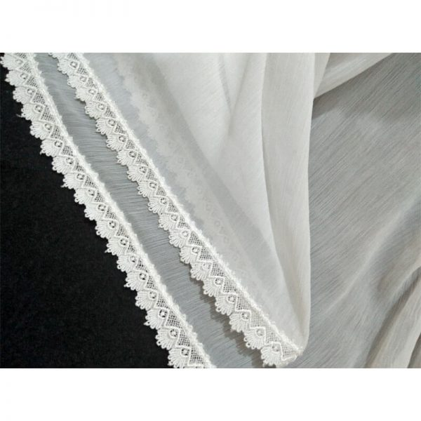 ZD38 White Chiffon Dupatta With Floral Lace On All 4 Sides 2
