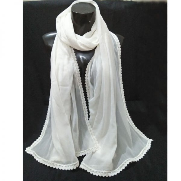 ZD38 White Chiffon Dupatta With Floral Lace On All 4 Sides 3