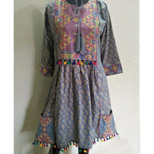 Grey Ladies Kurti - Free Size - 2 Front Pockets - With Tassel Lace