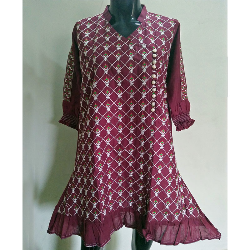 Maroon Full Embroided Kurti - Free Size - Front Botton Design