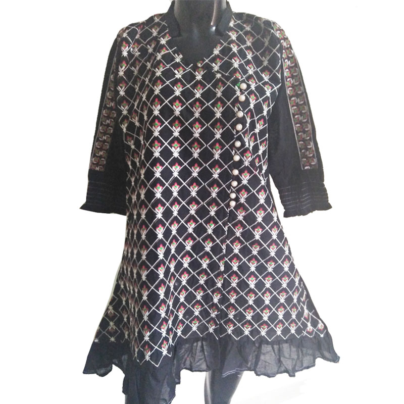 Black Full Embroided Kurti Free Size Front Botton Design