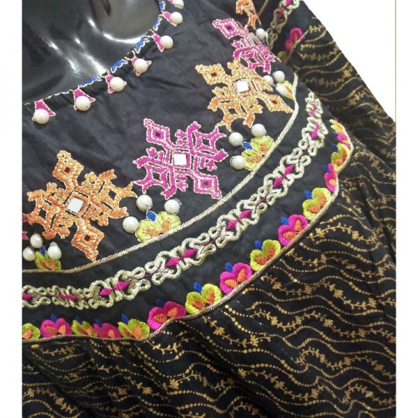ZK06-3 Black Embrioded Kurti – Free Size – With Mirror and Pearl Work