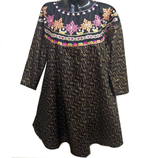 ZK06 Black Embrioded Kurti – Free Size – With Mirror and Pearl Work