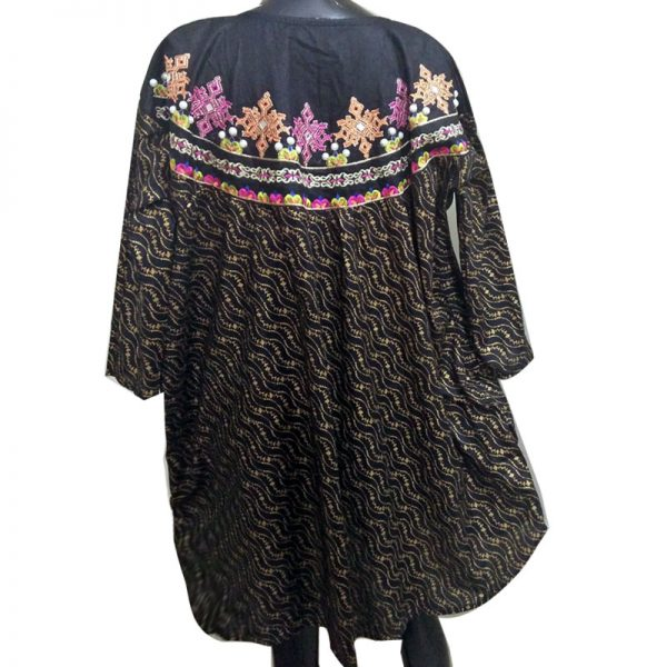 ZK06 Black Embrioded Kurti – Free Size – With Mirror and Pearl Work1