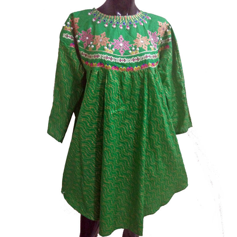 Green Embrioded Kurti - Free Size - With Mirror and Pearl Work