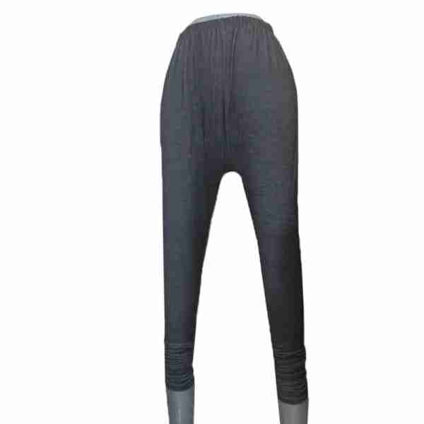 ZL09 Black Denim Stretchable Leggings with Buttons