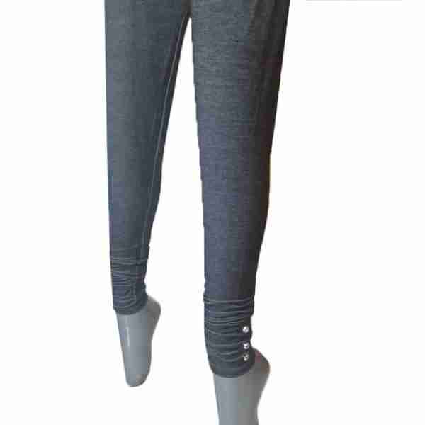 ZL09- Black Denim Stretchable Leggings with Buttons