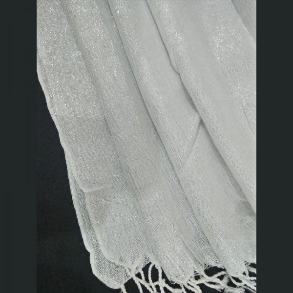 ZSC02 Silver White Cotton Lawn Scarf Stole Large1