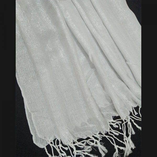 ZSC02 Silver White Cotton Lawn Scarf Stole Large12