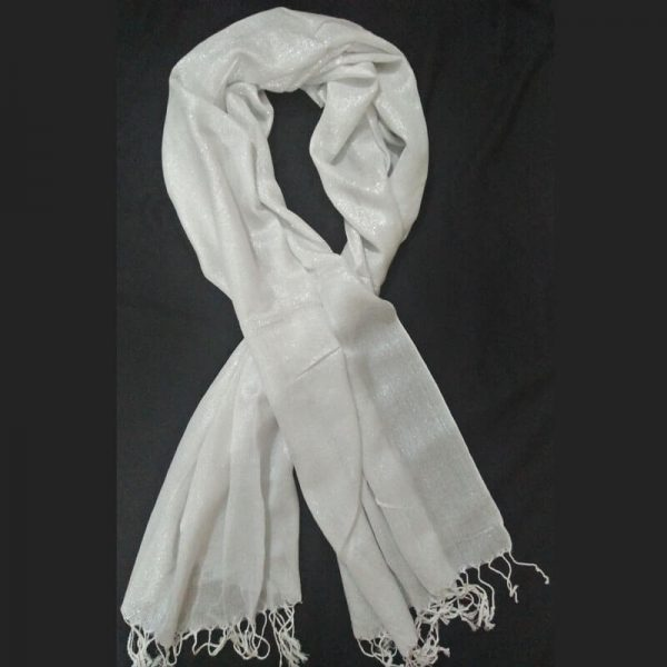 ZSC02Silver White Cotton Lawn Scarf Stole Large –