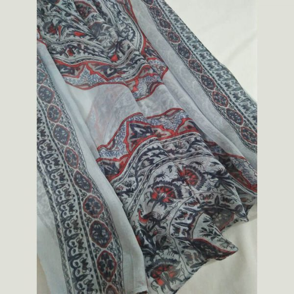 ZSC03 Floral Multi Cotton Lawn Scarf Stole Large