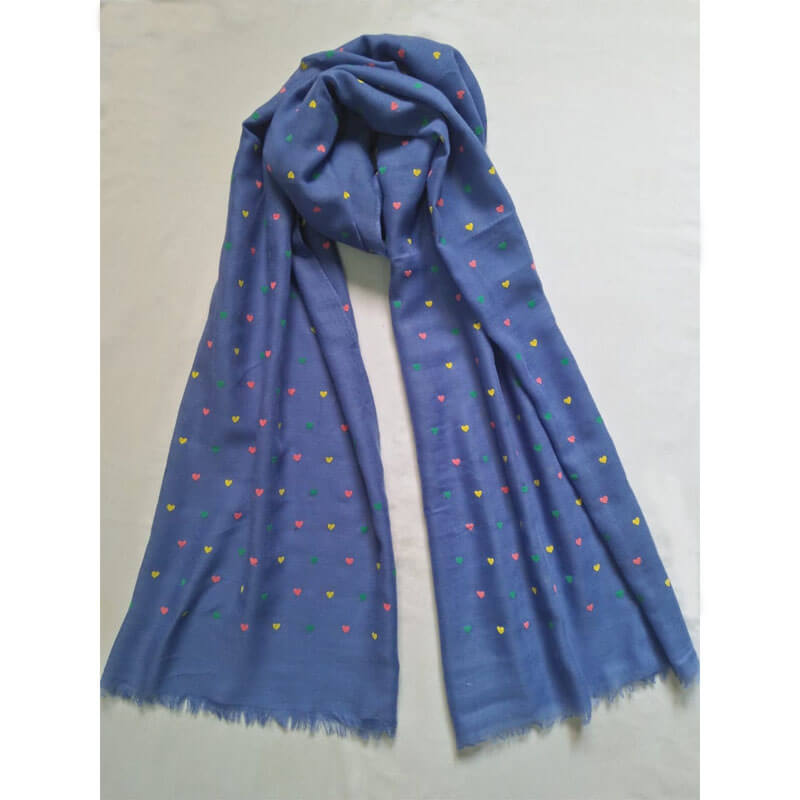 Blue Heart Design Cotton Lawn Scarf