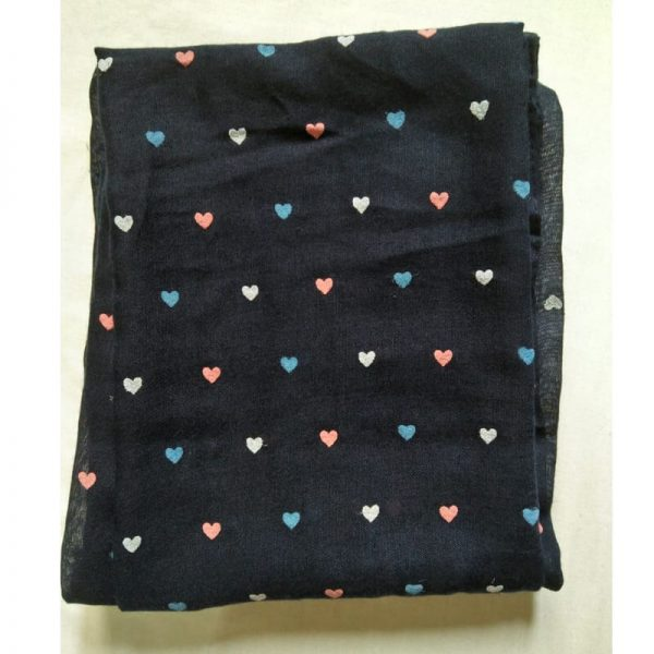 ZSC05 Navy Blue Heart Design Cotton Lawn Scarf Stole –