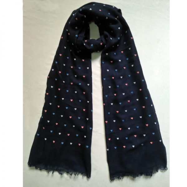 ZSC05 Navy Blue Heart Design Cotton Lawn Scarf Stole–