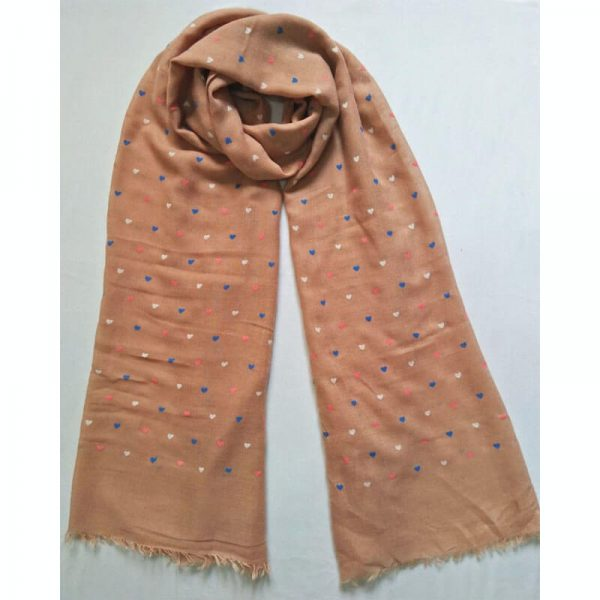 ZSC08Brown Heart Design Cotton Lawn Scarf –