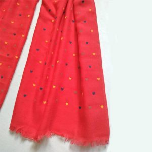 Red Heart Design Cotton Lawn Scarf Stole Large