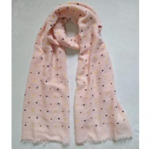 Pink Heart Design Cotton Lawn Scarf Stole