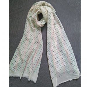 Cream Lawn Scarf Stole Large