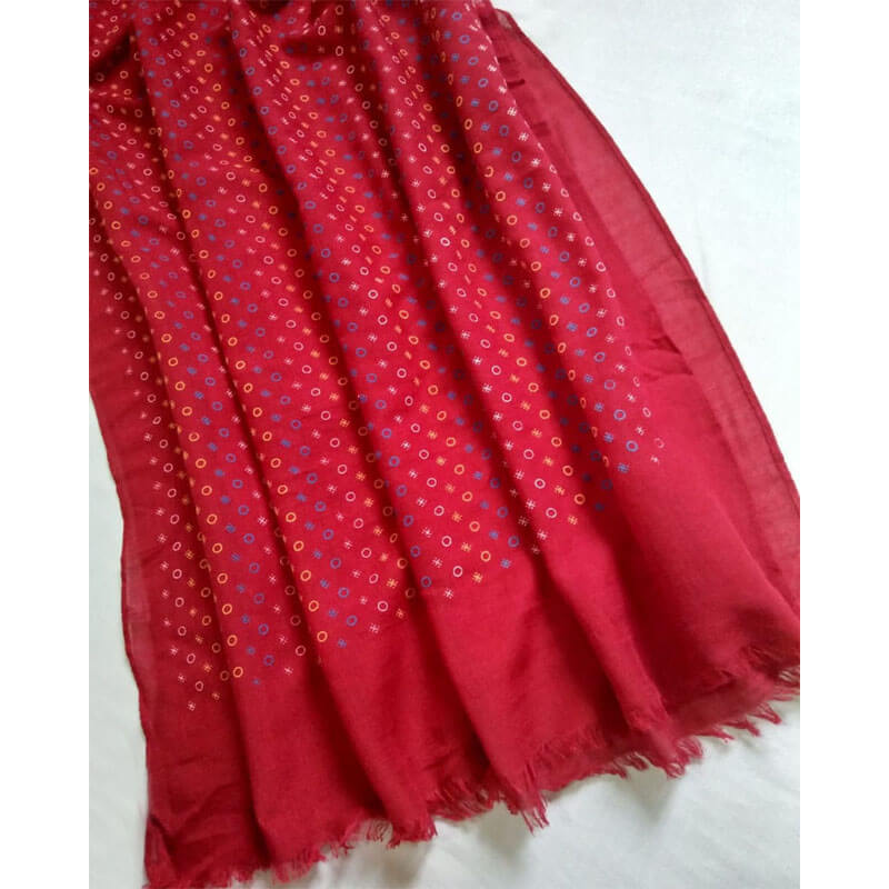 Red Lawn Scarf Stole Large (1)