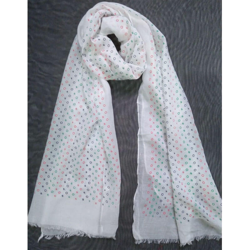 White Lawn Scarf Stole Large