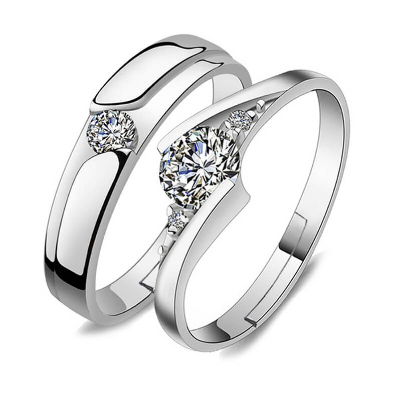 2 PC Sterling Silver Adjustable Zircon Rings