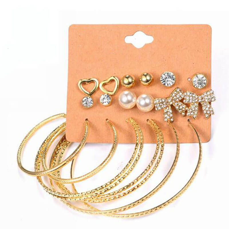 9 Pairs Stud And Hoop Earring 9 Pairs Stud And Hoop Earring Set