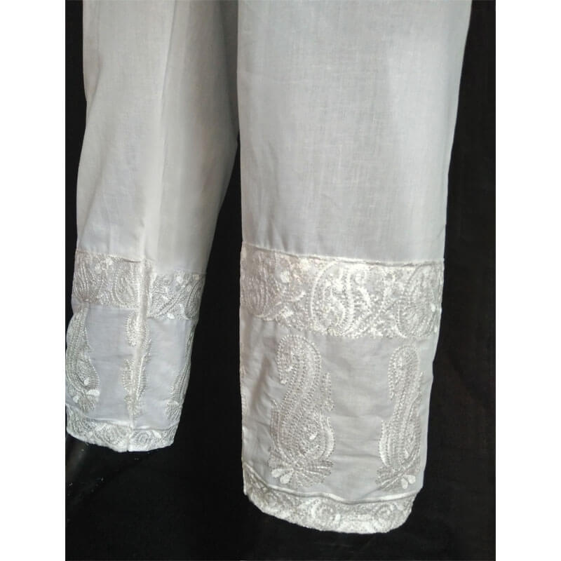 Embroided White Trouser Free Size
