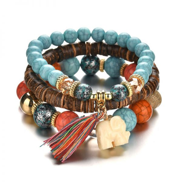 1 MultiColor Bracelet Handmade Wooden With Beads