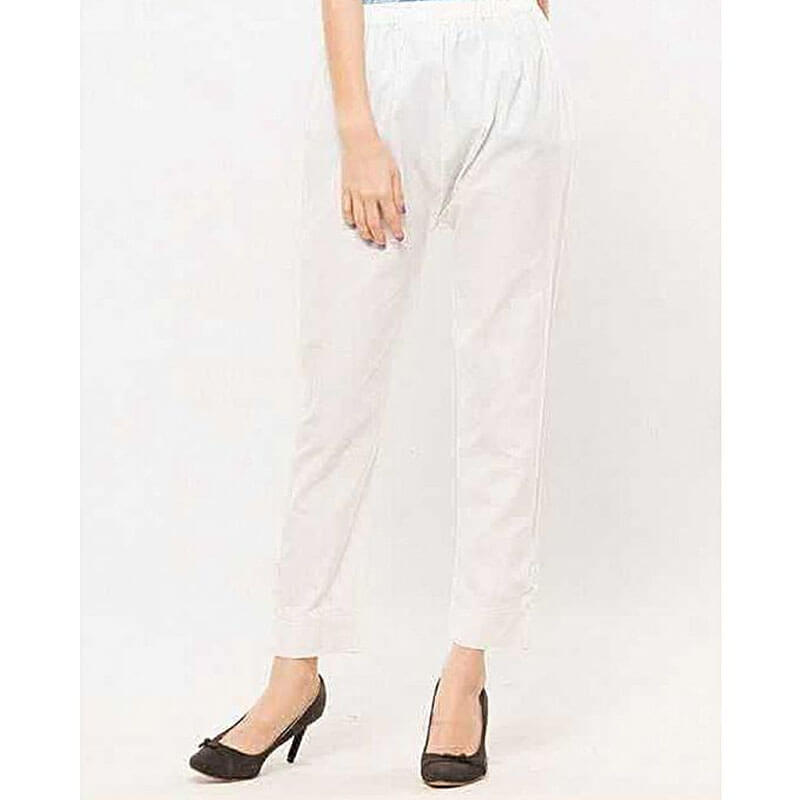 Plain White Trouser Free Size