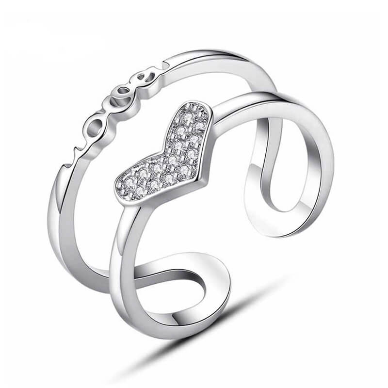1 Silver Adjustable Glowing Ring With Diamante Heart Design