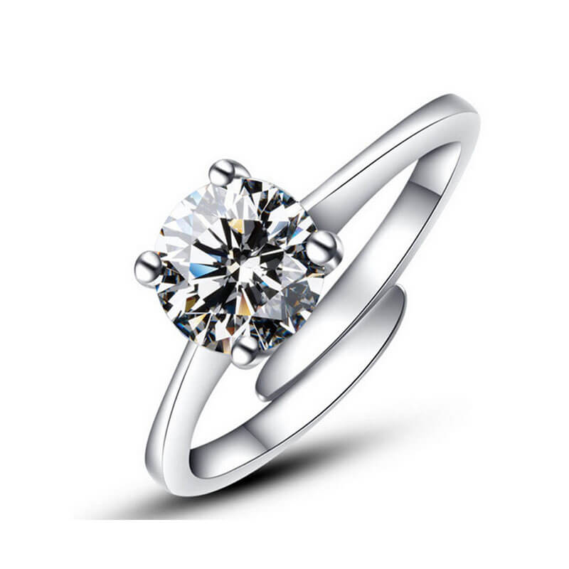 1 Silver Adjustable Zircon Ring For Her