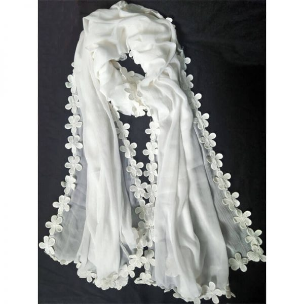 1 White Chiffon Dupatta With Floral Lace On All 4 Sides