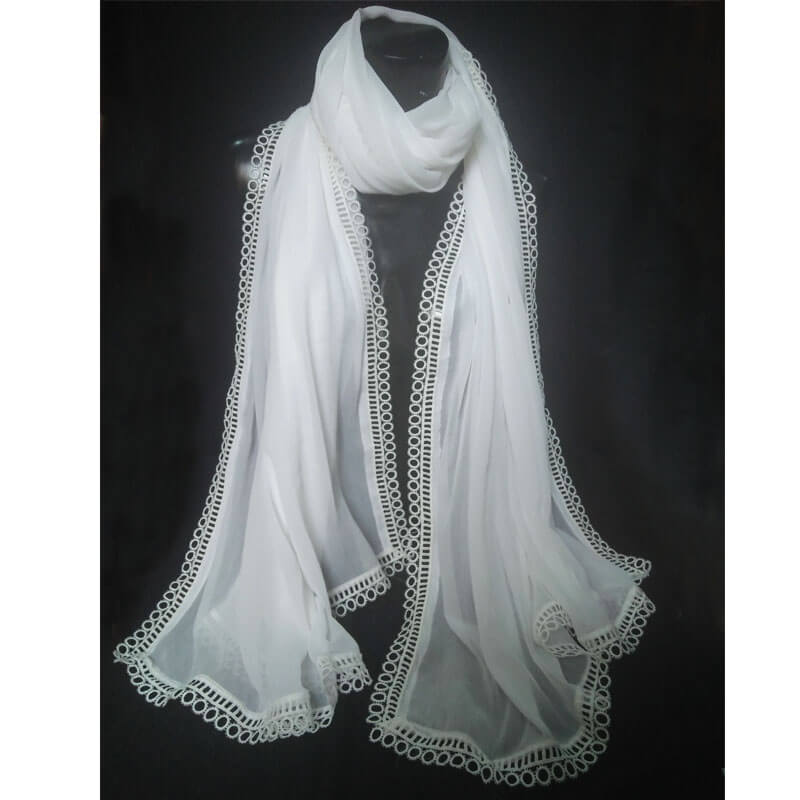 White Large Chiffon Dupatta With Circle Lace On All 4 Sides
